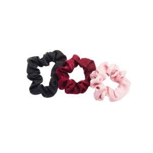 Hiusdonitsi 3 kpl, musta, tummanpunainen ja vaaleanpunainen hiusdonitsi.