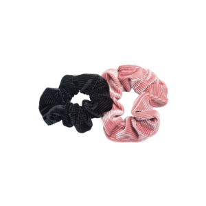 2 kpl hiusdonitsilajitelma, joka sisältää mustan ja vaaleanpunaisen hiusdonitsin.