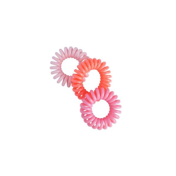 Lasten vieterihiuslenkki 3kpl vaaleanpunainen, pinkki ja korallinvärinen.